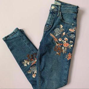 Topshop Jamie Jeans Floral Embroidered Skinny